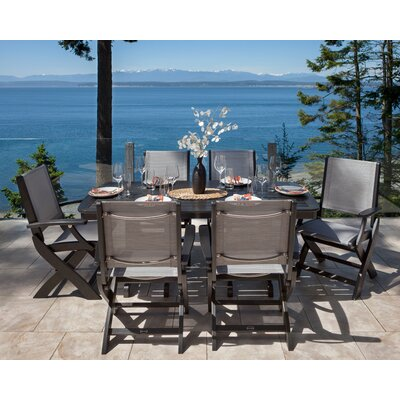 Coastal 7 Piece Dining Set Finish: Black, Fabric: Metallic