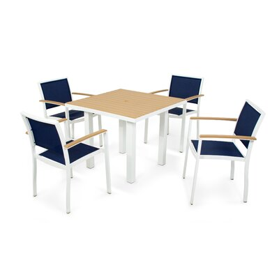 Bayline? 5 Piece Dining Set Finish: Satin White, Fabric: Navy Blue