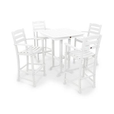 La Casa Caf� 5 Piece Bar Set Finish: White