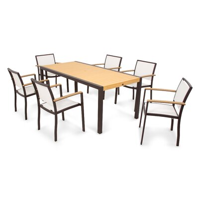 Bayline? 7 Piece Dining Set Fabric: White