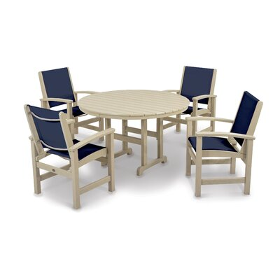 Coastal 5 Piece Dining Set Finish: Sand, Fabric: Navy Blue
