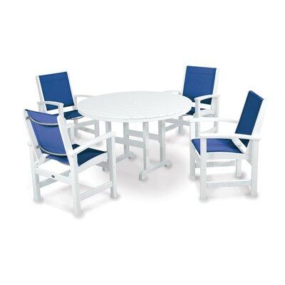 Coastal 5 Piece Dining Set Finish: White, Fabric: Royal Blue