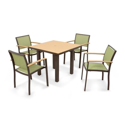 Bayline? 5 Piece Dining Set Finish: Textured Bronze, Fabric: Kiwi