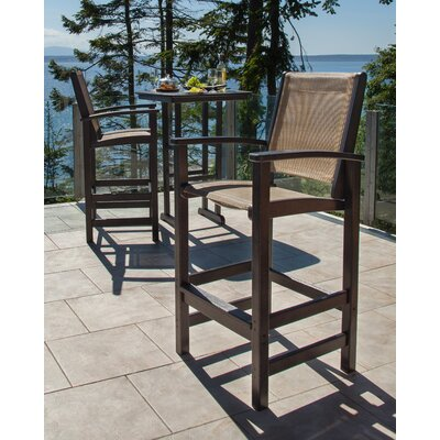Coastal 3 Piece Bar Set Finish: Black, Fabric: Burlap