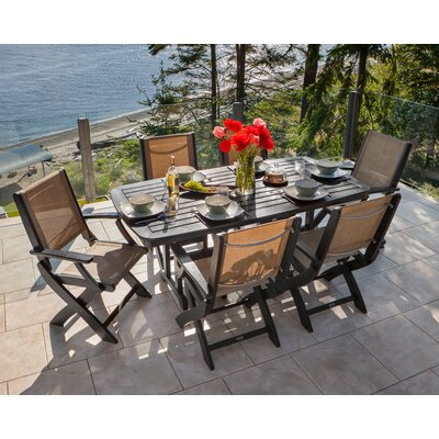 Coastal 7 Piece Dining Set Finish: Black, Fabric: Burlap