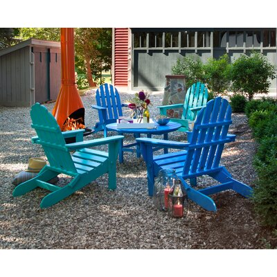 Classic Folding Conversation Adirondack 5-Piece Seating Group Finish: Pacific Blue / Aruba