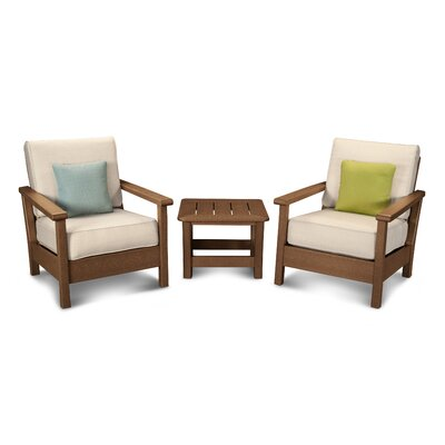 Harbour 3 Piece Deep Seating Group with Cushion Color: Teak / Antique Beige
