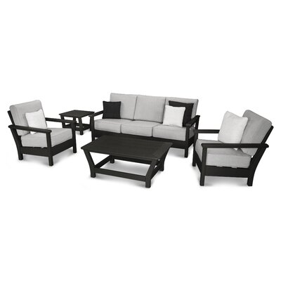Harbour 5 Piece Deep Seating Group with Cushion Color: Black / Canvas Granite