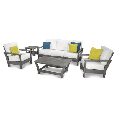 Harbour 5 Piece Deep Seating Group with Cushion Color: Slate Grey / Natural