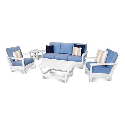 Harbour 5 Piece Deep Seating Group with Cushion Color: White / Air Blue