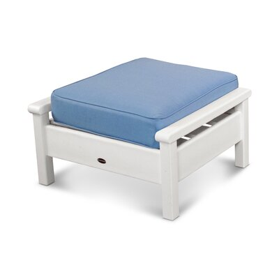 Harbour Ottoman with Cushion Finish: White, Fabric: Air Blue