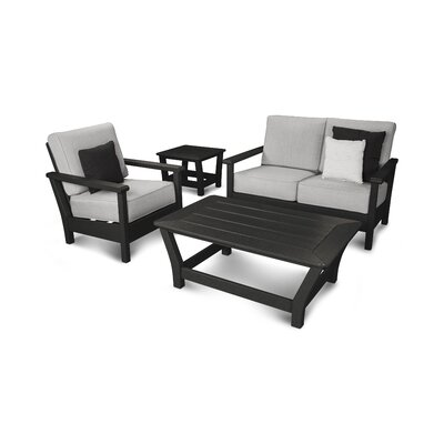 Harbour 4 Piece Deep Seating Group with Cushion Color: Black / Canvas Granite