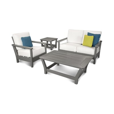 Harbour 4 Piece Deep Seating Group with Cushion Color: Slate Grey / Natural