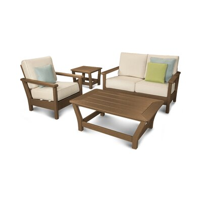 Harbour 4 Piece Deep Seating Group with Cushion Color: Teak / Antique Beige