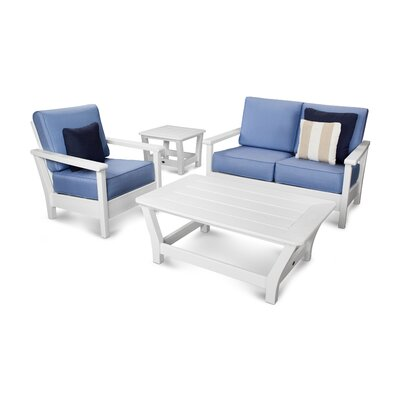 Harbour 4 Piece Deep Seating Group with Cushion Color: White / Air Blue