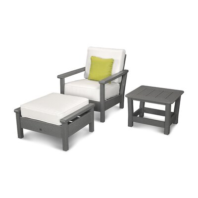 Harbour 3 Piece Deep Seating Group with Cushion Color: Slate Grey / Natural