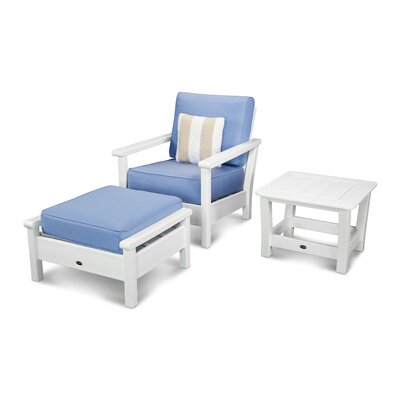 Harbour 3 Piece Deep Seating Group with Cushion Color: White / Air Blue