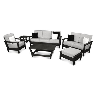 Harbour 6 Piece Deep Seating Group with Cushion Color: Black / Canvas Granite