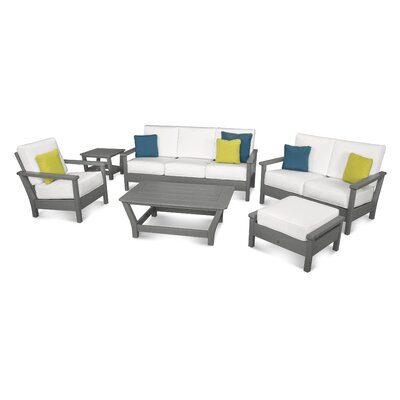 Harbour 6 Piece Deep Seating Group with Cushion Color: Slate Grey / Natural