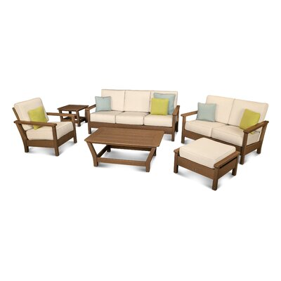 Harbour 6 Piece Deep Seating Group with Cushion Color: Teak / Antique Beige