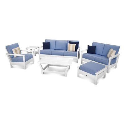 Harbour 6 Piece Deep Seating Group with Cushion Color: White / Air Blue