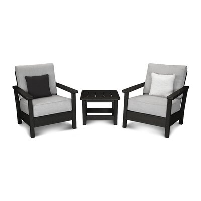 Harbour 3 Piece Deep Seating Group with Cushion Color: Black / Canvas Granite
