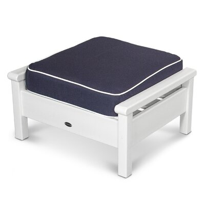 Harbour Ottoman with Cushion Finish: White, Fabric: Navy