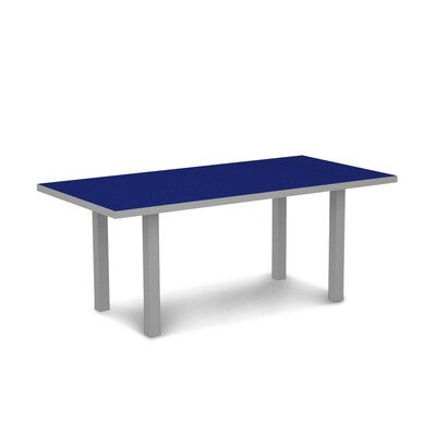 Euro Dining Table Finish: Textured Aluminum Silver Frame / Pacific Blue
