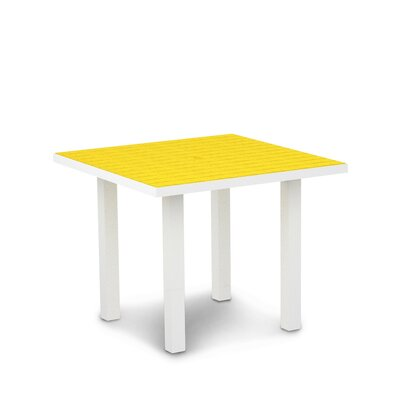 Euro Dining Table Finish: Textured White Aluminum Frame / Lemon