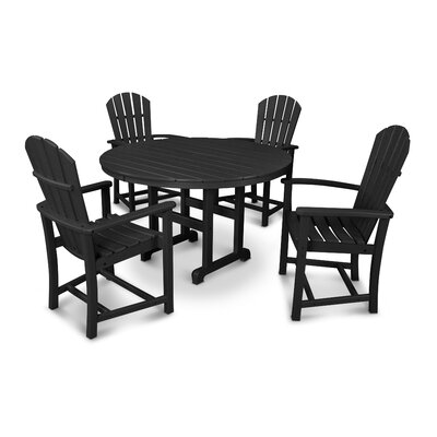 Palm Coast 5 Piece Dining Set Finish: Black
