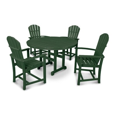 Palm Coast 5 Piece Dining Set Finish: Green