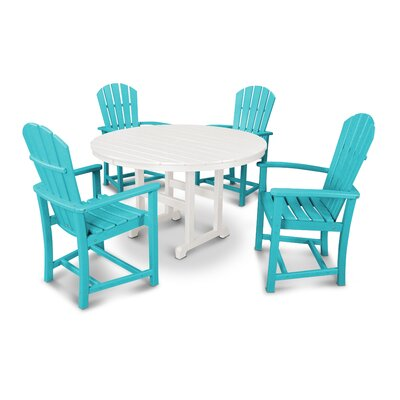 Palm Coast 5 Piece Dining Set Color: Aruba and White