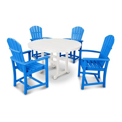 Palm Coast 5 Piece Dining Set Color: Pacific Blue and White