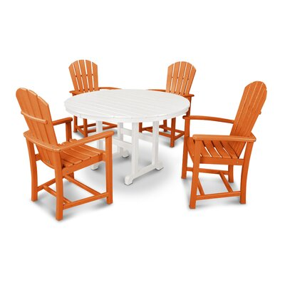 Palm Coast 5 Piece Dining Set Color: Tangerine and White