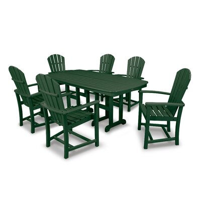Palm Coast 7 Piece Dining Set Finish: Green