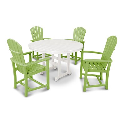 Palm Coast 5 Piece Dining Set Color: Lime and White