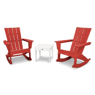 Quattro 3 Piece Rocker Seating Group Finish: White/Sunset Red