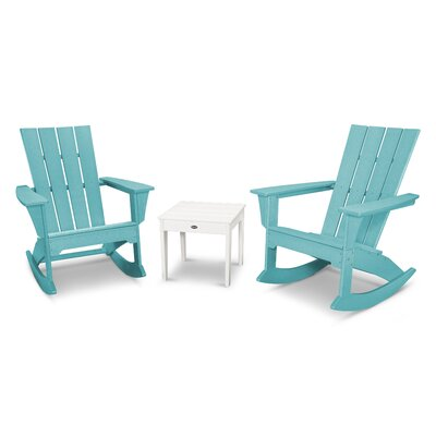 Quattro 3 Piece Rocker Seating Group Finish: White/Aruba