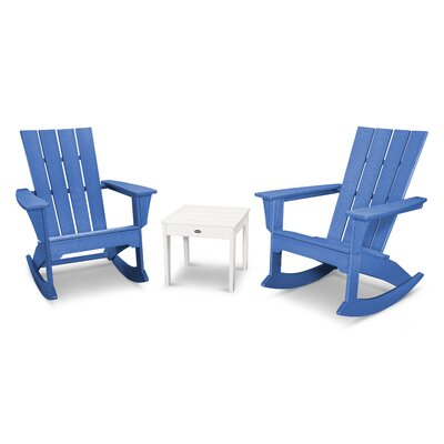 Quattro 3 Piece Rocker Seating Group Finish: White/Pacific Blue