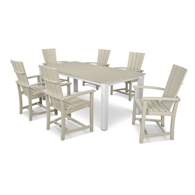 Quattro 7 Piece Dining Set Finish: Satin White/Sand