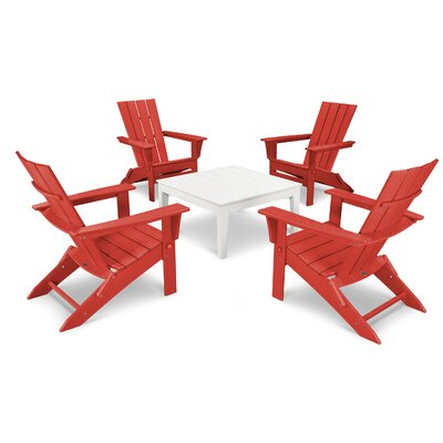 Quattro 5 Piece Dining Set Finish: White/Sunset Red