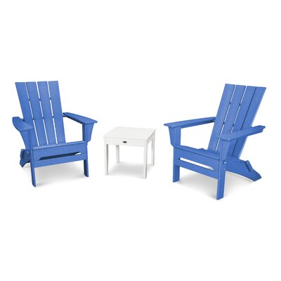 Quattro 3 Piece Adirondack Seating Group Finish: White/Pacific Blue