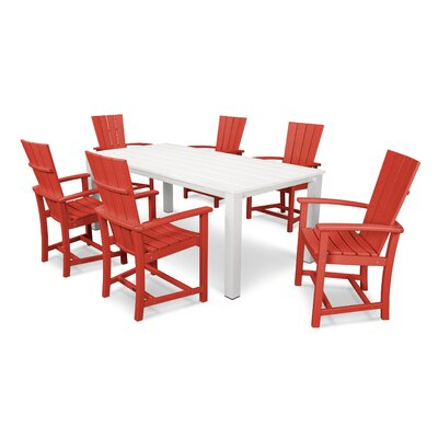 Quattro 7 Piece Dining Set Finish: Satin White/Sunset Red