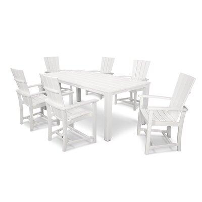Quattro 7 Piece Dining Set Finish: Satin White/White