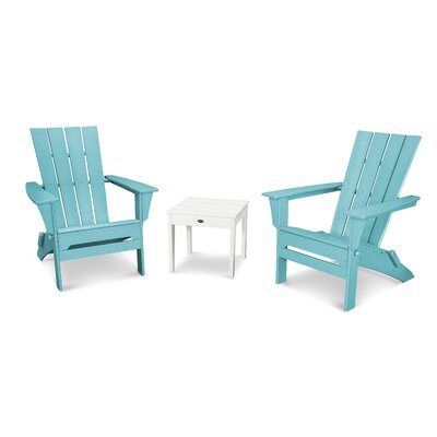 Quattro 3 Piece Adirondack Seating Group Finish: White/Aruba