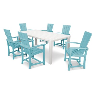 Quattro 7 Piece Dining Set Finish: Satin White/Aruba