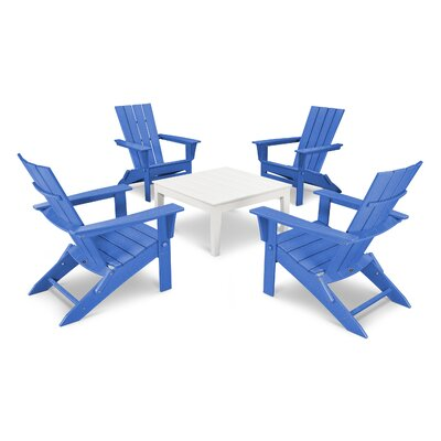 Quattro 5 Piece Dining Set Finish: White/Pacific Blue