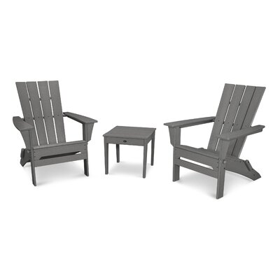Quattro 3 Piece Adirondack Seating Group Finish: Slate Gray
