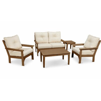 Vineyard 5 Piece Deep Seating Group with Cushion Frame Finish: White, Fabric: Navy