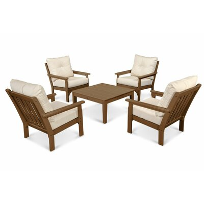 Vineyard Conversation 5 Piece Deep Seating Group with Cushion Frame Finish: Slate Gray, Fabric: Natural